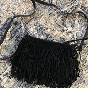 Rebecca Minkoff Suede Fringe Black Crossbody Bag